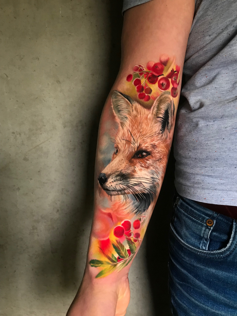 Realistic Fox tattoo by color realism tattoo artist Kätlin Malm
