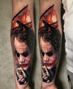 Realistic joker tattoo by Torsten Malm