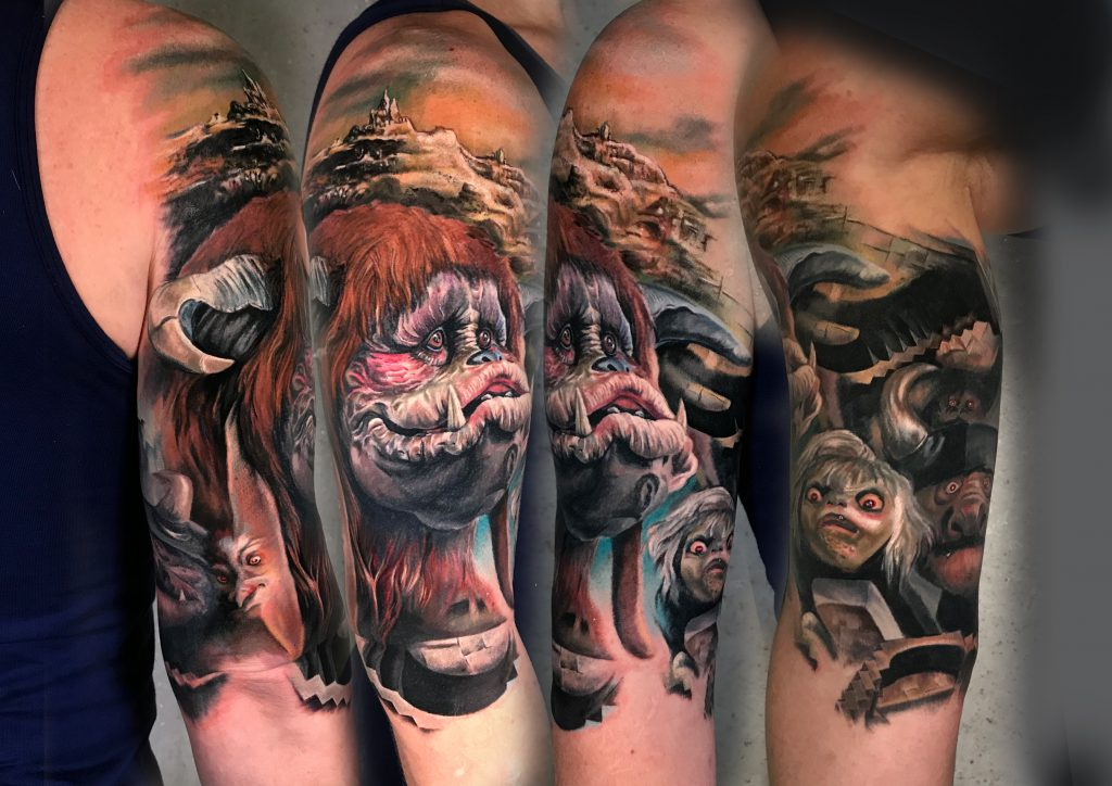 Realistic Labyrinth tattoo by color realism tattoo artist Kätlin Malm