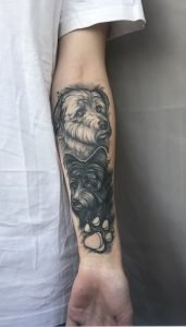 Black & grey dog portrait tattoo by Izabela Emert done at Studio Malm