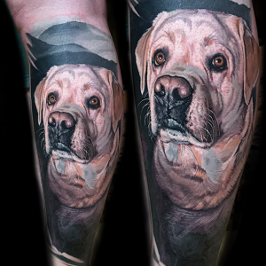 Realistic dog portrait by color realism tattoo artist Torsten Malm