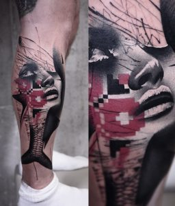 Abstract realism woman & fish tattoo by Timur Lysenko done at Studio Malm