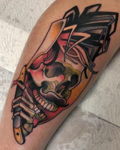 Neotraditional skull tattoo by Rednosedolphin