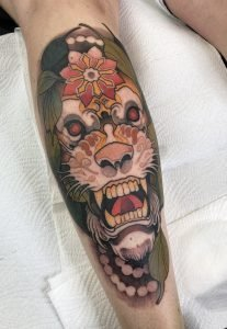 Neotraditional animal tattoo by Rednosedolphin