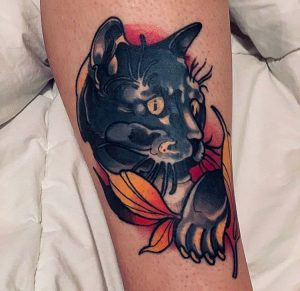 Neotraditional cat tattoo by Rednosedolphin