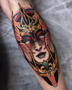 Neotraditional woman tattoo by Rednosedolphin